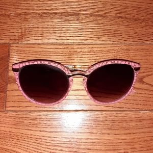 Accessories - Pink Pebble Print Retro Style Sunglasses